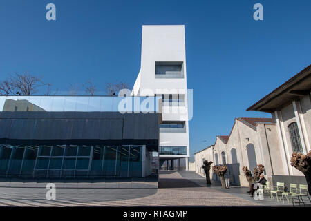 The Torre building of the Fondazione Prada Milan Italy, designed by Rem Koohaas / OMA, exterior - Stock Image