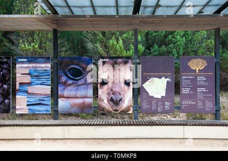 Information display inside a shelter at the Royal Botanic Gardens Australian Garden, Cranbourne, Victoria, Australia - Stock Image