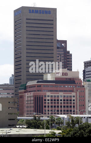 The offices of Samsung and STBB in the commercial center of Cape Town, viewed from The Castle of Good Hope. - Stock Image