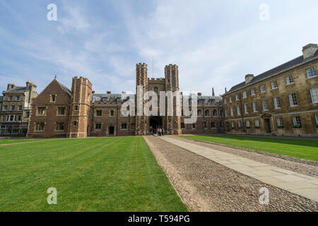 Great Gate St Johns College Cambridge from First Court - Stock Image