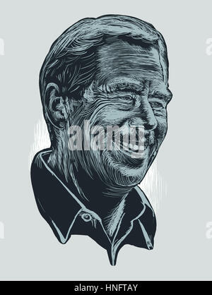 Drawing of Czech ex-president Vaclav Havel, author of theater plays, philosopher. February 2017. Blue and grey tones. - Stock Image