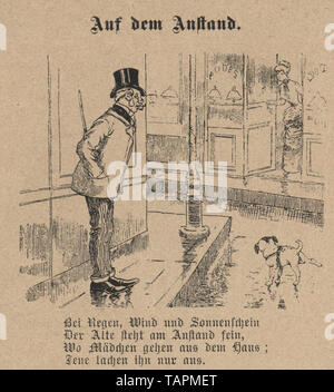 Victorian Cartoon of man letting his dog pee in the street, 1880s, German 19th Century - Stock Image