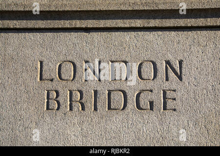 London bridge sign in London, UK. - Stock Image