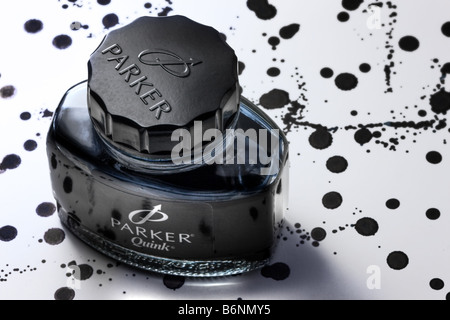 Bottle of Parker ink - Stock Image