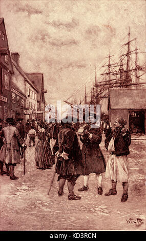 Traders of the Dutch West India Company along the waterfront, New Amsterdam (now New York), Dutch settlers c. 1630s. - Stock Image