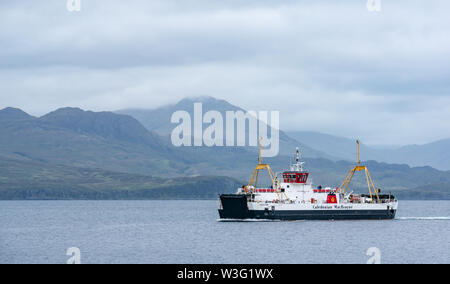 Caledonian MacBrayne car ferry crossing Sound of Sleat between Isle of Skye and Scottish mainland, Scoland, UK - Stock Image