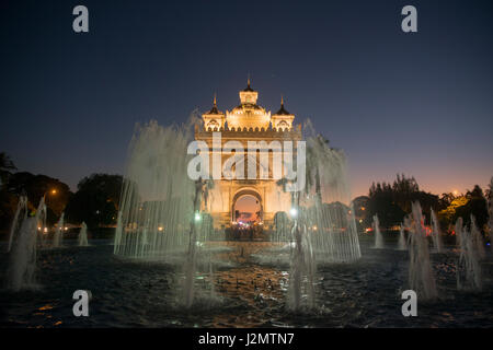 the patuxai arch in the city of vientiane in Laos in the southeastasia. - Stock Image