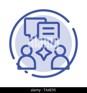 Man, Group, Chatting Blue Dotted Line Line Icon - Stock Image