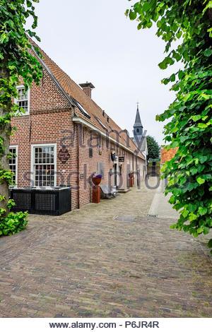 Hervormde Kerk (Reformed Church) and other buildings in Vesting Bourtange, The Netherlands - Stock Image