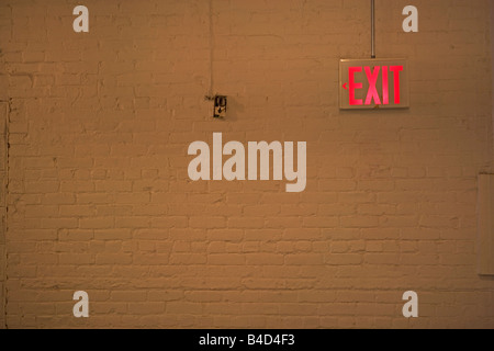 exit, traffic, hallway, sign, neon, brick wall, light, - Stock Image