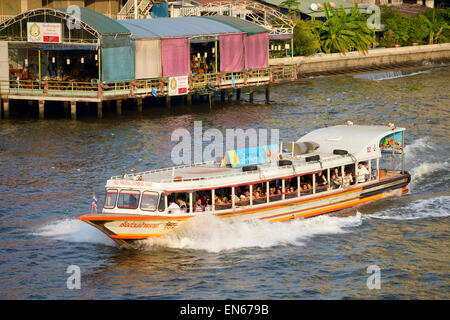 Bangkok, Thailand: The Chao Phraya Express Ferry Boat service is one of the most convenient forms of transport in - Stock Image