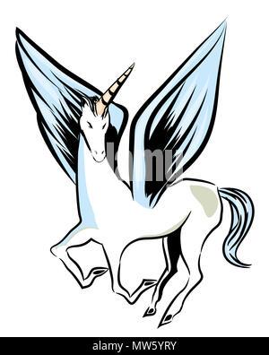 Flying unicorn.  Flying unicorn with big wings. Unicorn isolated with white background. - Stock Image