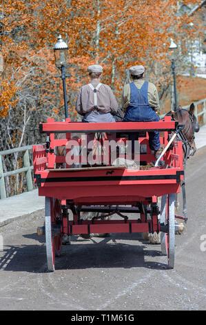 Horsedrawn cart at Heritage Park in Calgary Alberta Canada - Stock Image