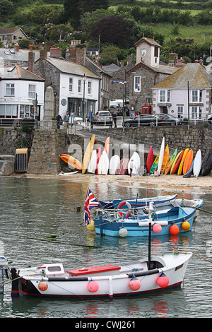 Mousehole Harbour in Cornwall - Stock Image