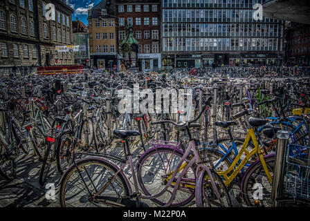 Copenhagen, Denmark – September 27th 2014: a bicycle parking lot in Copenhagen with hundreds of bicycles - Stock Image