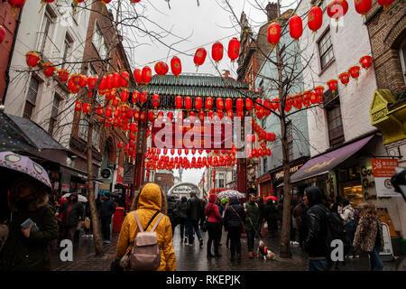 London, UK, 10 February, 2019. Seen colourful decorations during Chinese New year celebration at China Town, SOHO, ,London,  UK. .Alamy/Harishkumar Shah - Stock Image