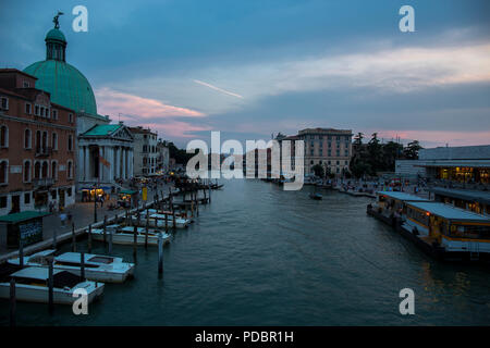 View from the Bridge - Ponte Degli Scalzi on the Grand Canal near the railway station in Venice - Stock Image