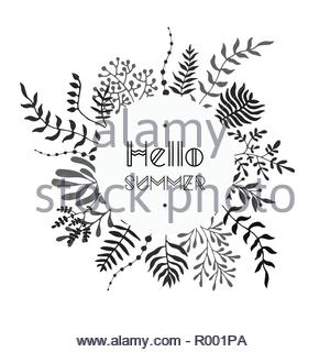 Floral vector black and white bouquet - Stock Image