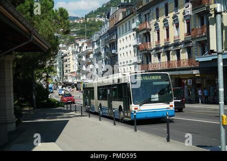 Trolleybus in Montreux, Switzerland -1 - Stock Image