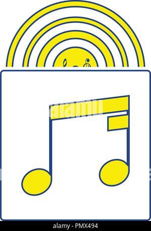 Vinyl record in envelope icon. Thin line design. Vector illustration. - Stock Image