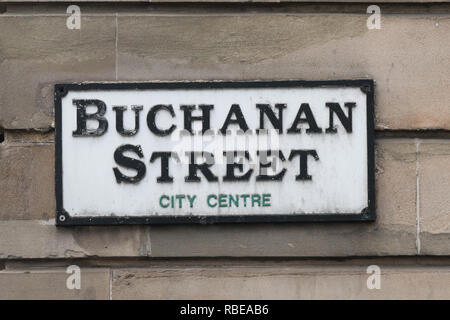 Buchanan Street street sign, Glasgow city centre, Scotland, UK - Stock Image