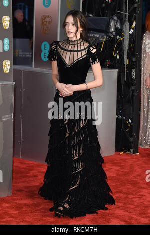 London, UK. 10th Feb, 2019. LONDON, UK. February 10, 2019: Stacey Martin arriving for the BAFTA Film Awards 2019 at the Royal Albert Hall, London. Picture: Steve Vas/Featureflash Credit: Paul Smith/Alamy Live News - Stock Image