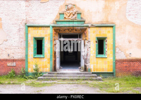 Exterior view of the entrance of an abandoned hospital in Germany. - Stock Image