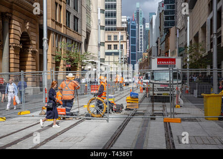 Construction of the Sydney CBD light rail project on George street in Sydney city centre,New South Wales,Australia - Stock Image