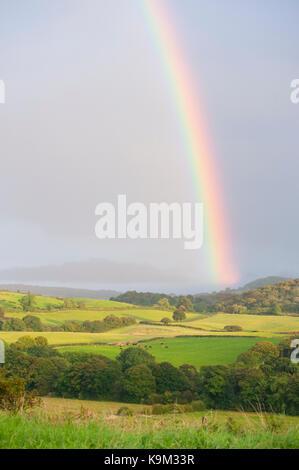 North Yorkshire farmland and countryside near Scalby with rainbow, United Kingdom, British Isles - Stock Image