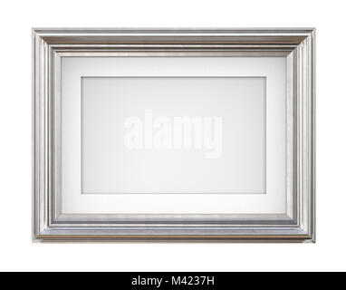 3D render of Vintage Silver Frame with passe-partout on blue background. Isolated and Blank for Copy Space. - Stock Image