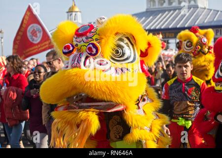 Eastbourne, UK. 17th Feb 2019. Lion dogs on the streets of Eastbourne as part of todays Chinese New Year celebrations. East Sussex.  Credit: Ed Brown/Alamy Live News - Stock Image