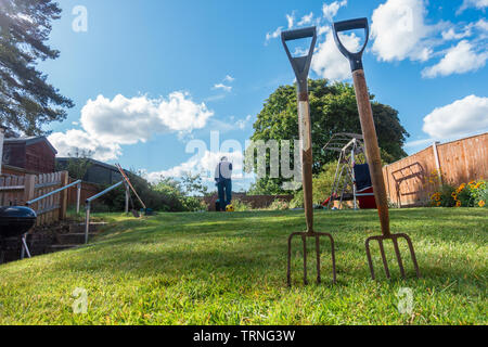 Garden forks pushed into a garden lawn as a man mows the lawn in the background. - Stock Image