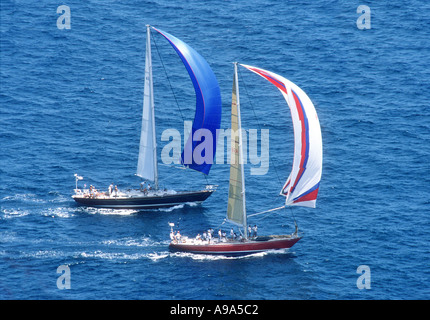 Royal Antigua Yacht Race The leading boats, colourful spinnakers up. - Stock Image