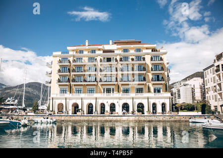 Beautiful view of the architecture, the sea and the yacht in Tivat in Montenegro. - Stock Image