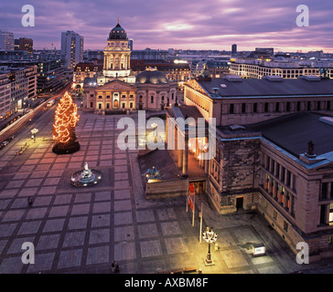 Berlin Gendarmenmarkt Christmas tree German dome View from French dome top - Stock Image