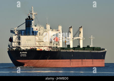 Bulkcarrier Almasi leaving the Kiel Fjord heading for Baltic sea - Stock Image