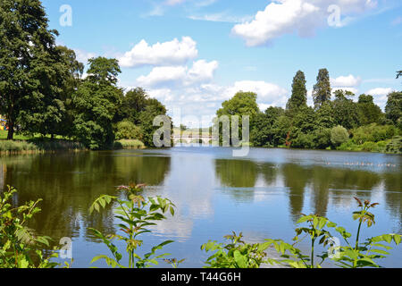 The River at Compton Verney House, Compton Verney, Kineton, Warwickshire, England UK. 18th century Country Mansion & Art Gallery.  Landscaped grounds. - Stock Image
