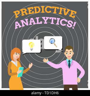 Conceptual hand writing showing Predictive Analytics. Concept meaning Optimize Collection Achieve CRM Identify Customer Business Partners Colleague Jo - Stock Image