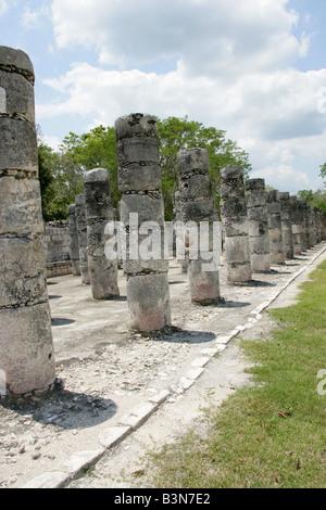 Western Colonnade, Chichen Itza Archaeological Site, Chichen Itza, Yucatan Peninsula, Mexico - Stock Image