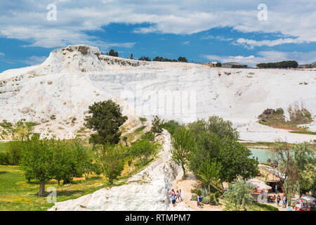 Travertine terrace, Pamukkale, Denizli Province, Turkey - Stock Image