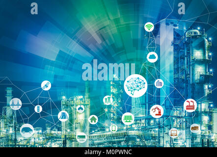 AI(Artificial Intelligence) and smart factory. Abstract mixed media. - Stock Image