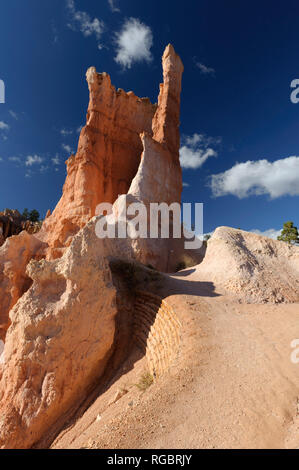 Hiking trail and hoodoo on a beautiful sunny day,  Bryce Canyon National Park, Utah, USA. - Stock Image