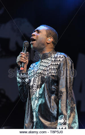 Senegalese singer, percussionist, songwriter, composer, Youssou N'Dour performing at the Womad Festival, Malmesbury, UK. July 26, 2014 - Stock Image