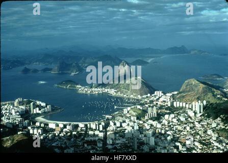 Partial view upon Rio de Janeiro, Brazil as seen from Corcovado. - Stock Image