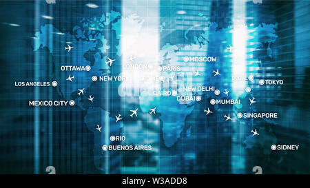 Global Aviation Abstract Background with planes and city names on a map. Business Travel Transportation concept. - Stock Image