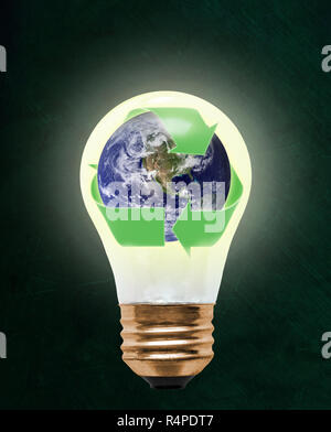 Planet earth wrapped in recycling symbol inside floating light bulb with copy space. Concept of ecology, environmental conservation; green alternative - Stock Image