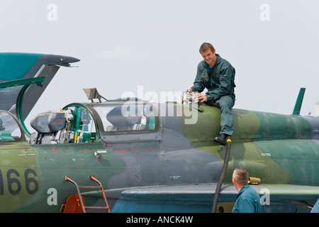 Croatian Air Force MiG-21 BISD fighter during refueling, Pleso AFB, 'open day' visit in 2007 - Stock Image