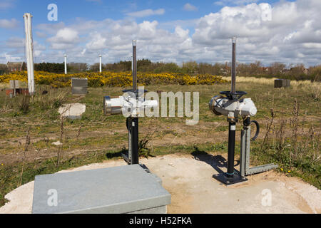 Electric motorised control mechanisms installed on pipe valves at a sewage transfer station at Lytham, Lancashire. - Stock Image