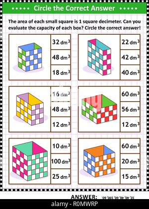 Math skills and IQ training visual puzzle or worksheet. Evaluate the capacity of each box.  Circle the correct answer. Answer included. - Stock Image