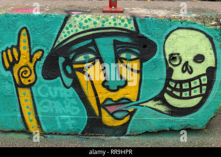 Buiksloterham, Amsterdam, Netherlands,  2018, Ferry Terminal , Graffiti Zone Detail. Man crying , speaking about death, pointing to heaven? - Stock Image